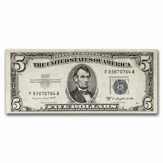 1953-B $5.00 Silver Certificate XF (Fr#1657)