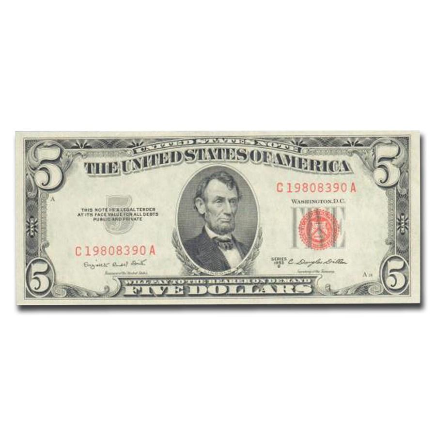 1953-B $5.00 U.S. Note Red Seal CU-67 EPQ PMG (Fr#1534)