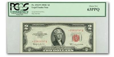 1953-C* $2.00 U.S. Notes Red Seal Ch CU-63 PPQ PCGS