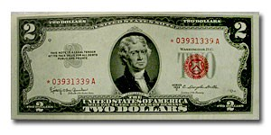 1953-C* $2.00 U.S. Notes Red Seal Choice CU