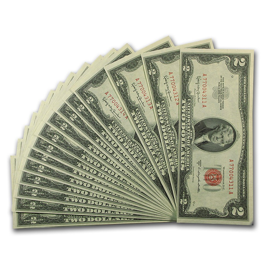 1953-C $2.00 U.S. Notes Red Seal CU (15 Consec Serial Numbers)