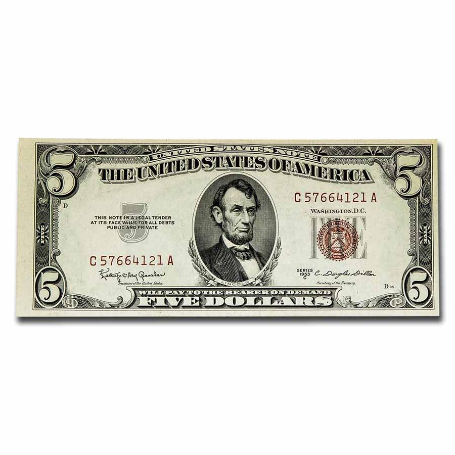 1953-C $5.00 U.S. Note Red Seal AU (Fr#1535)