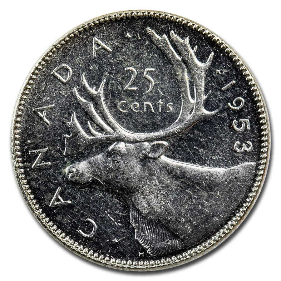 1953 Canada Silver 25 Cents Elizabeth II BU/Prooflike