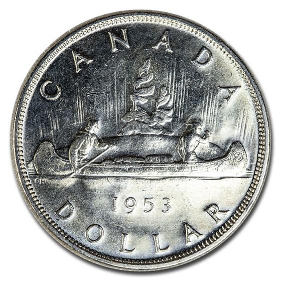1953 Canada Silver Dollar Elizabeth II BU