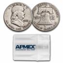 1953-D Franklin Half Dollar 20-Coin Roll Avg Circ