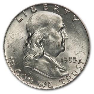 1953-D Franklin Half Dollar AU