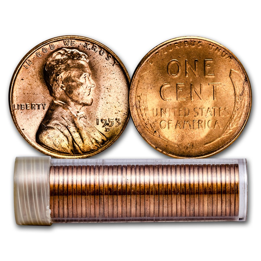 1953-D Lincoln Cent 50-Coin Roll BU