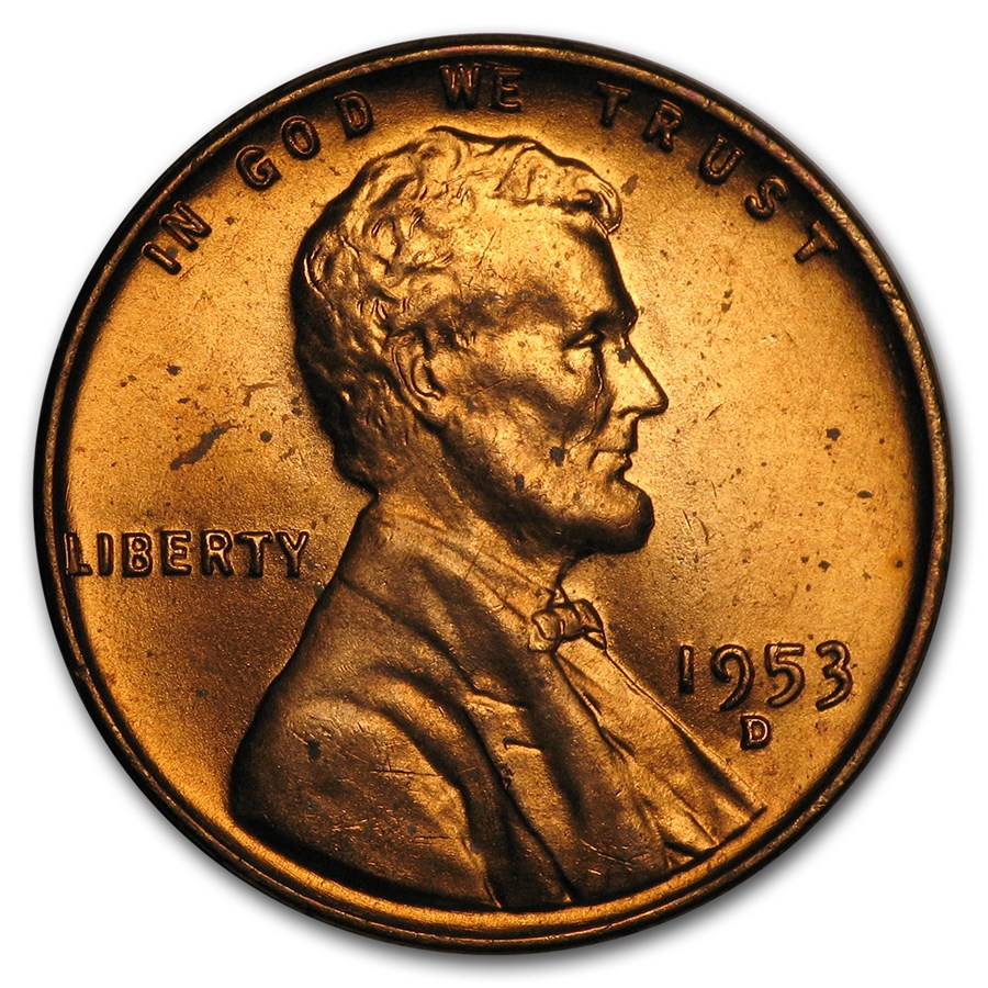 1953-D Lincoln Cent BU (Red)