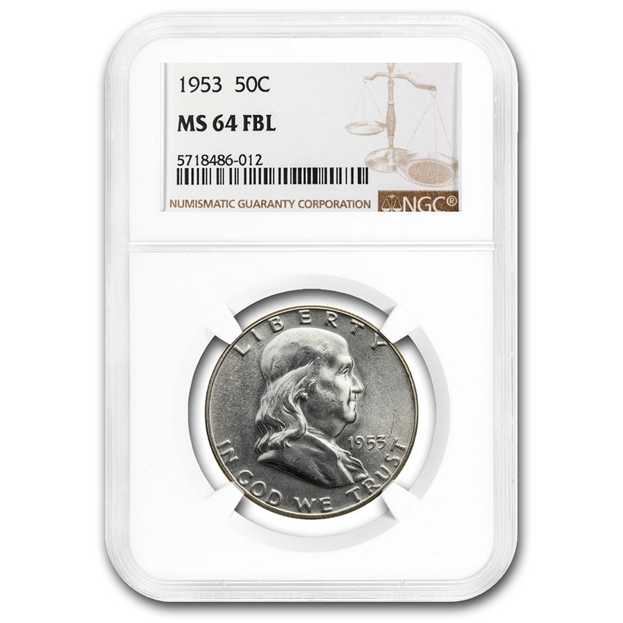 1953 Franklin Half Dollar MS-64 NGC (FBL)