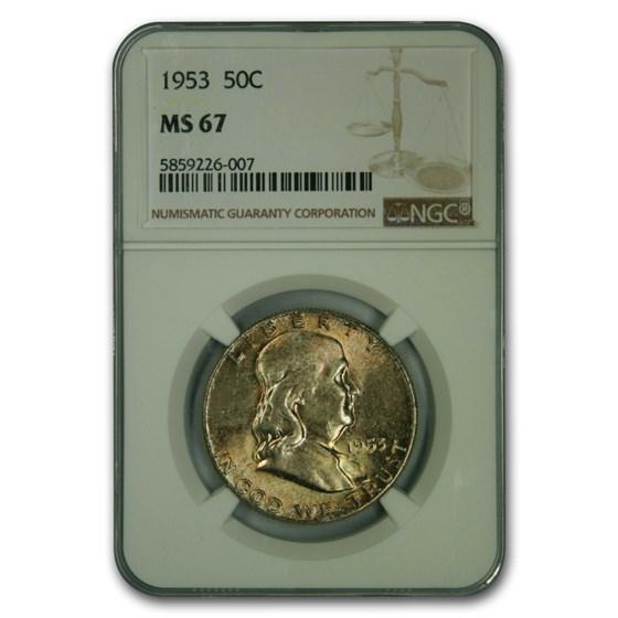 1953 Franklin Half Dollar MS-67 NGC
