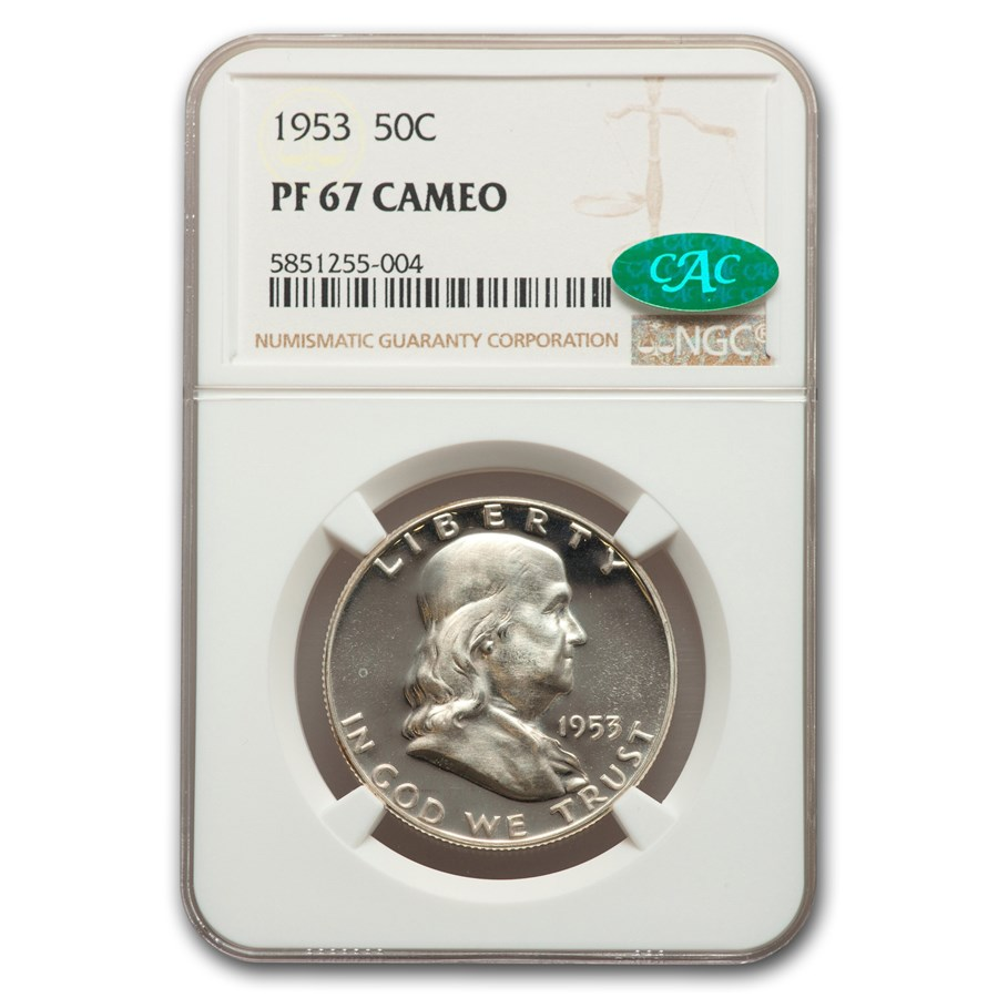 1953 Franklin Half Dollar PF-67 Cameo NGC CAC