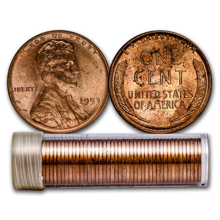 1953 Lincoln Cent 50-Coin Roll BU