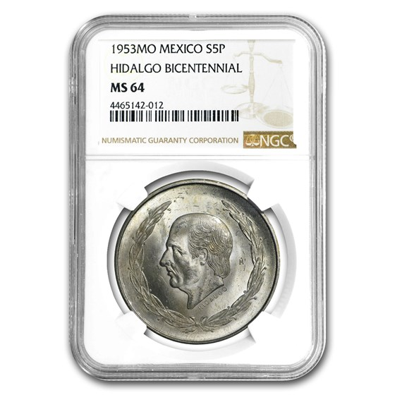 1953 Mexico Silver 5 Pesos Hidalgo MS-64 NGC