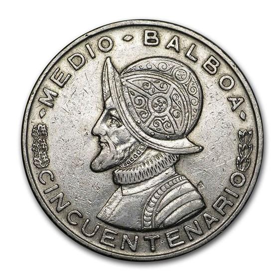 1953 Panama Silver 1/2 Balboa AU