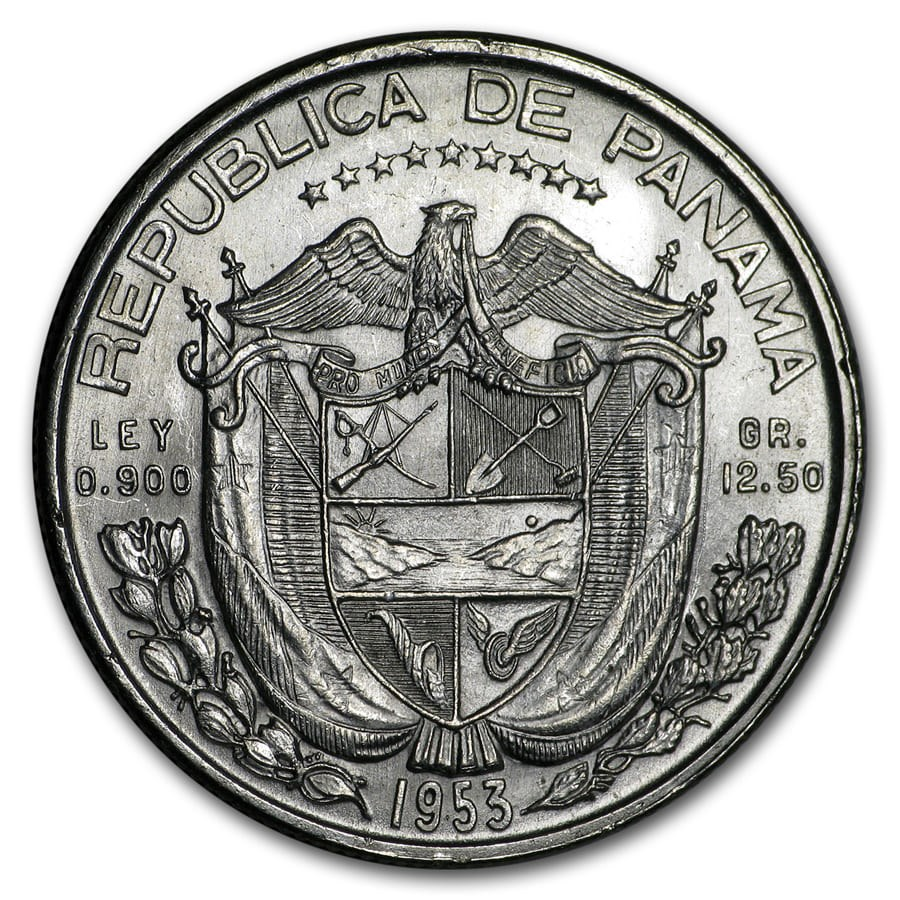 1953 Panama Silver 1/2 Balboa BU