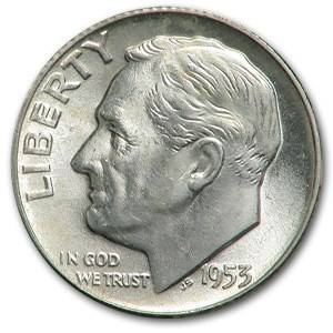 1953 Roosevelt Dime BU