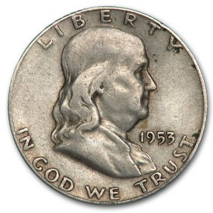 1953-S Franklin Half Dollar Fine/XF