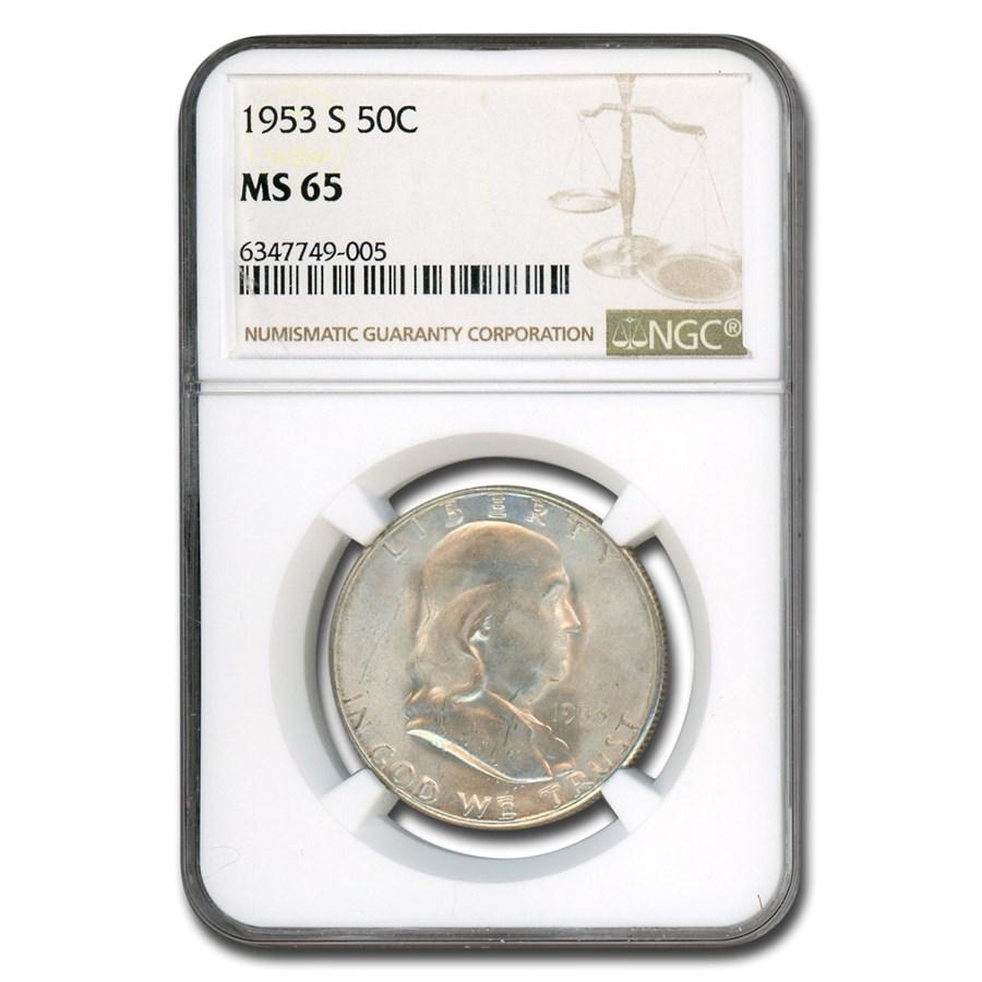 1953-S Franklin Half Dollar MS-65 NGC