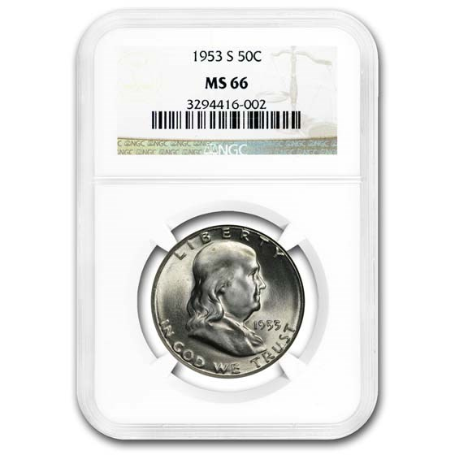 1953-S Franklin Half Dollar MS-66 NGC