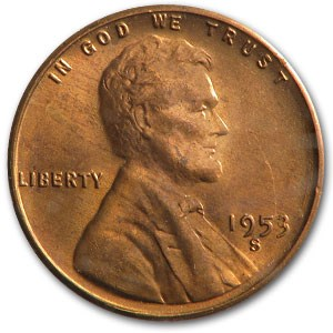 1953-S Lincoln Cent BU (Red)