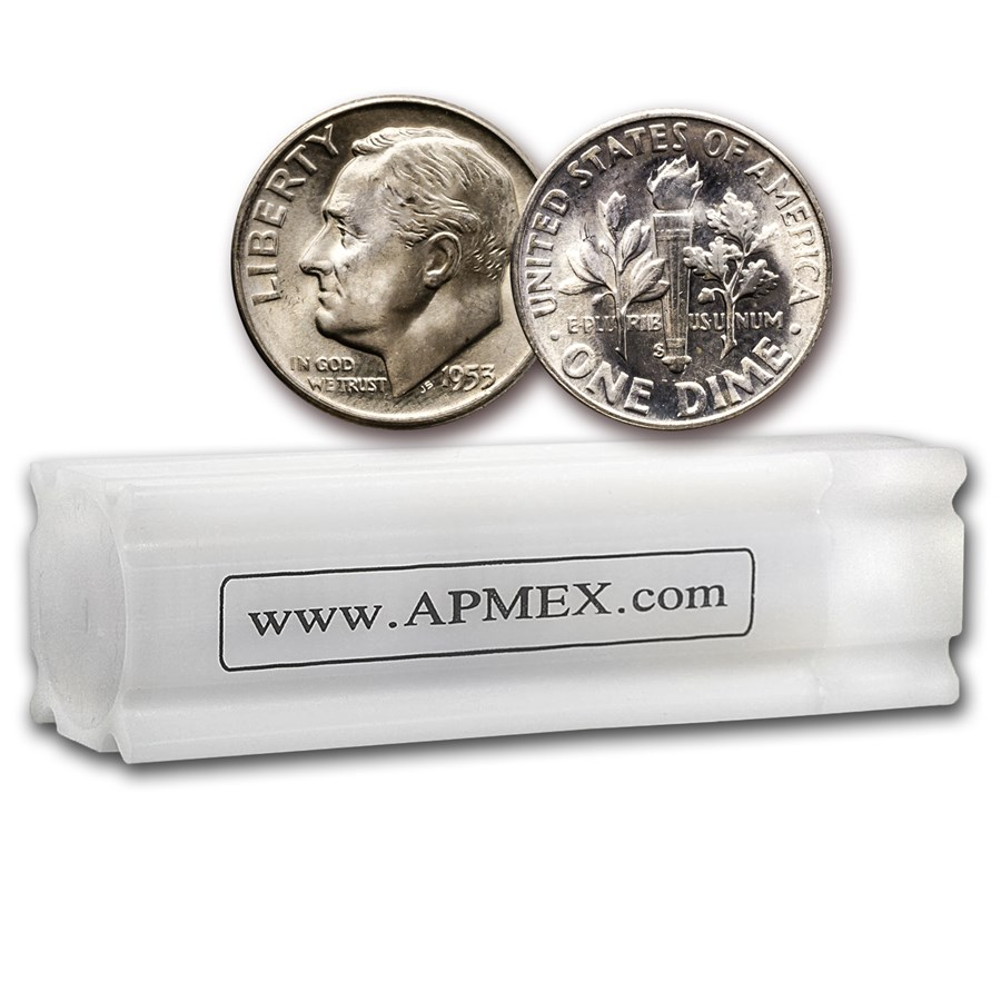 1953-S Roosevelt Dime 50-Coin Roll BU