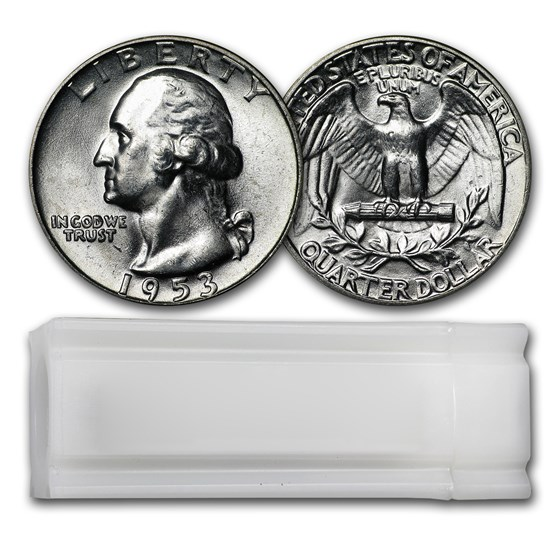 1953 Washington Quarter 40-Coin Roll BU