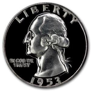 1953 Washington Quarter Doubled Die Obverse Proof-65