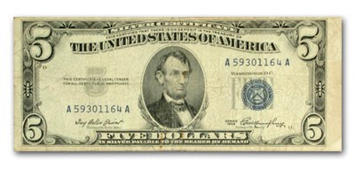 1953s $5.00 Silver Certificate VG/VF