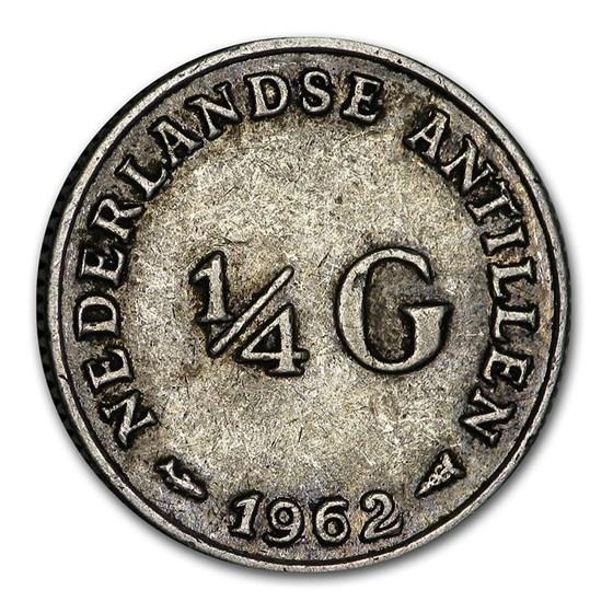 1954-1967 Netherlands Antilles Silver 1/4 Gulden Juliana Avg Circ