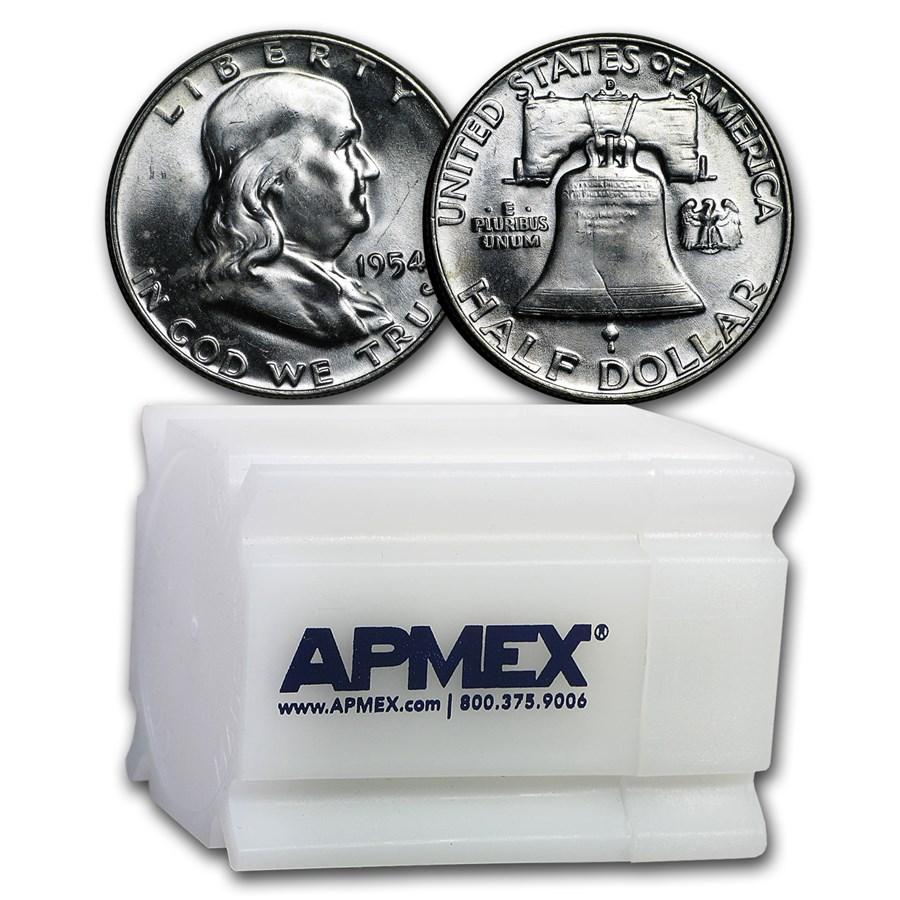 1954-D Franklin Half Dollar 20-Coin Roll BU