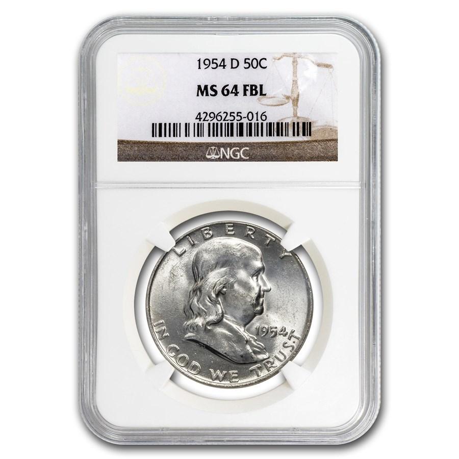 1954-D Franklin Half Dollar MS-64 NGC (FBL)