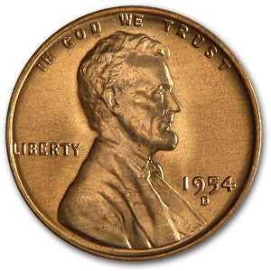 1954-D Lincoln Cent BU (Red)