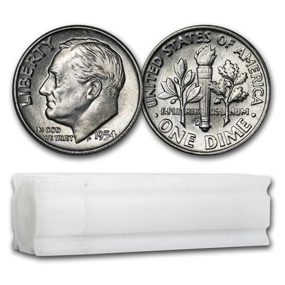 1954-D Roosevelt Dime 50-Coin Roll BU