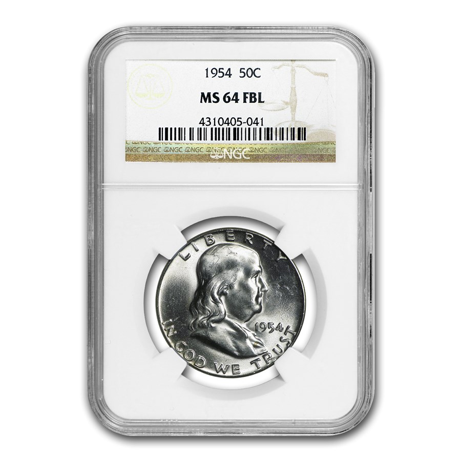 1954 Franklin Half Dollar MS-64 NGC (FBL)