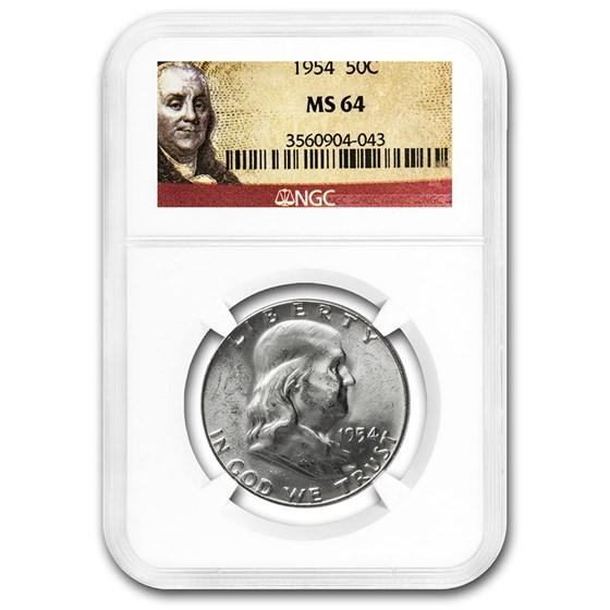 1954 Franklin Half Dollar MS-64 NGC