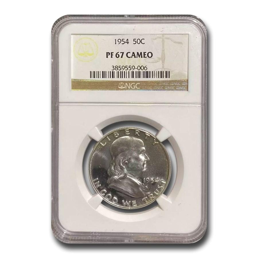 1954 Franklin Half Dollar PF-67 Cameo NGC