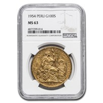 1954 Peru Gold 100 Soles Liberty MS-63 NGC