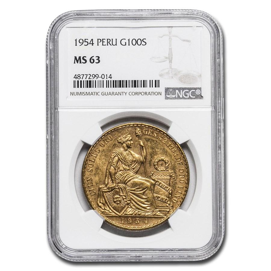 1954 Peru Gold 100 Soles Liberty MS-63 NGC