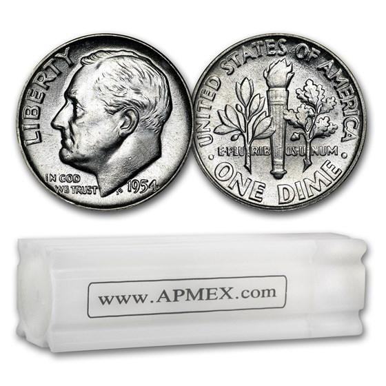 1954 Roosevelt Dime 50-Coin Roll BU