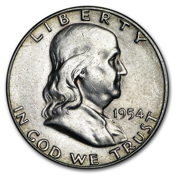 1954-S Franklin Half Dollar Fine/XF