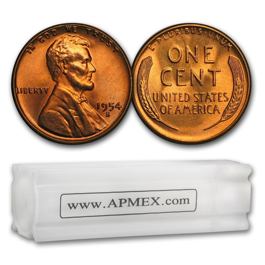1954-S Lincoln Cent 50-Coin Roll BU
