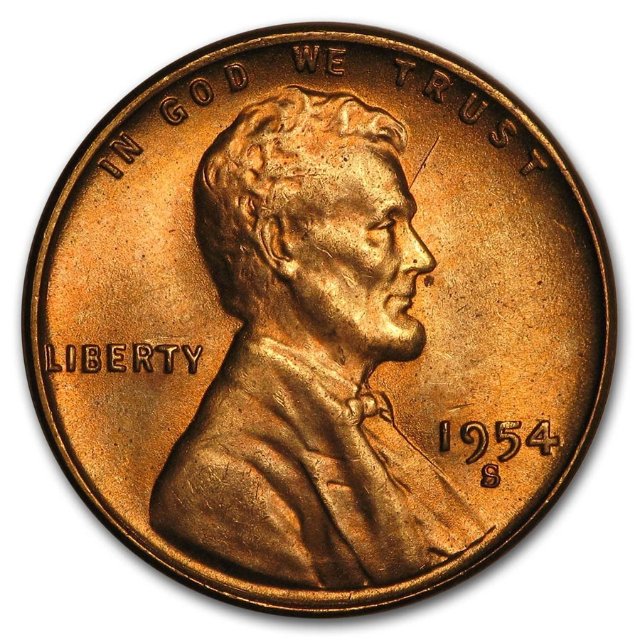 1954-S Lincoln Cent BU (Red)
