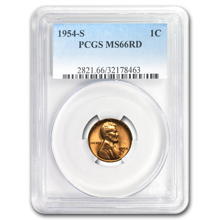 1954-S Lincoln Cent MS-66 PCGS (Red)