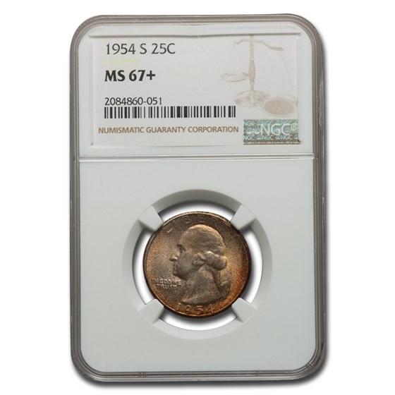 1954-S Washington Quarter MS-67+ NGC
