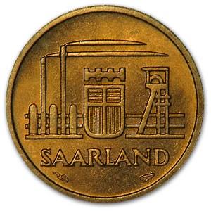 1954 Saarland 10 Franken BU