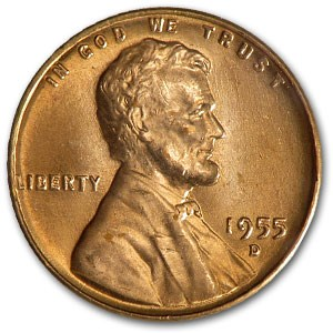 1955-D Lincoln Cent BU (Red)