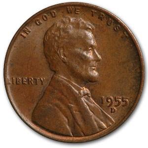 1955-D Lincoln Cent Fine+