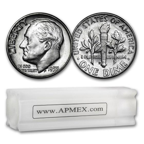 1955-D Roosevelt Dime 50-Coin Roll BU