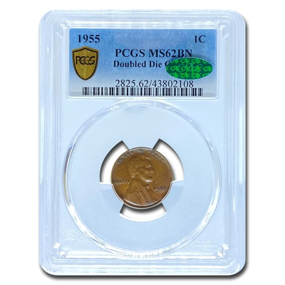1955 Doubled Die Obverse Lincoln Cent MS-62 PCGS CAC (Brown)