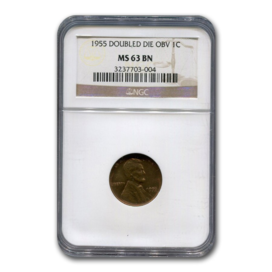 1955 Doubled Die Obverse Lincoln Cent MS-63 NGC (Brown)